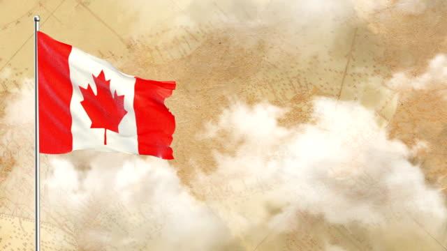 vídeos y material grabado en eventos de stock de 3d bandera de fondo histórico y fondo de cielo azul - bandera de canada