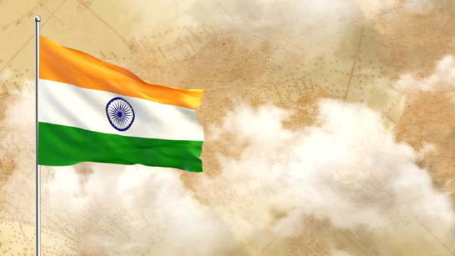 3d flag on  historical background then blue sky background - indian flag stock videos & royalty-free footage