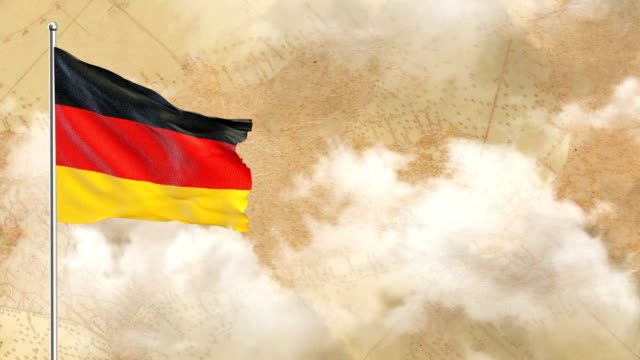 3d flag on  historical background then blue sky background - german flag stock videos & royalty-free footage