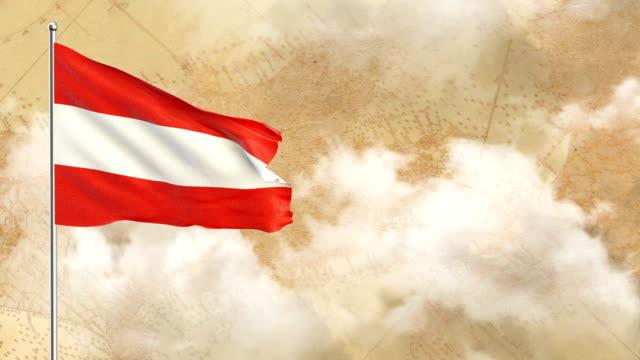 3d flagge auf historischem hintergrund dann blauer himmelshintergrund - austria flag stock-videos und b-roll-filmmaterial