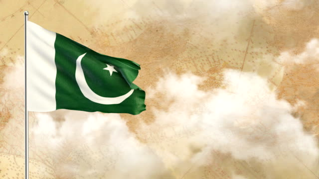 3d flag on  historical background then blue sky background - pakistani flag stock videos and b-roll footage