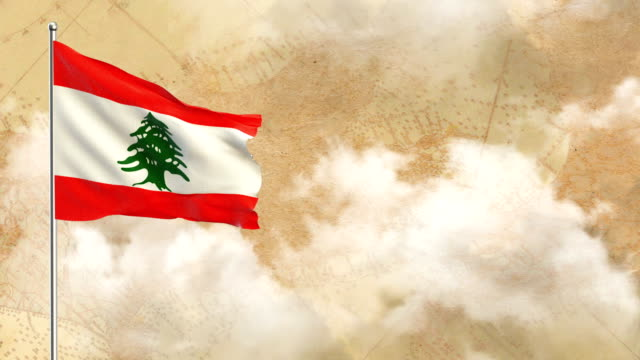 3d flag on  historical background then blue sky background - lebanese flag stock videos and b-roll footage