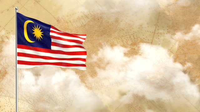 3d flag on  historical background then blue sky background - malaysian culture stock videos and b-roll footage