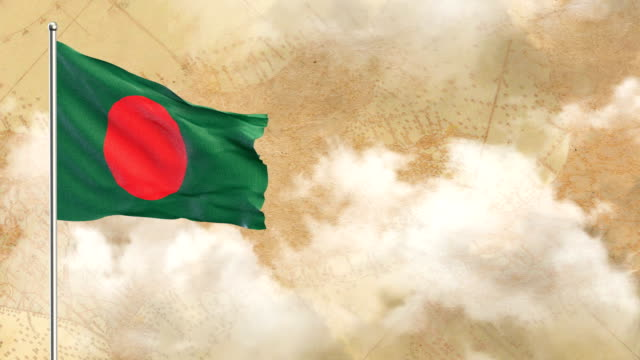 3d flag on  historical background then blue sky background - flag of bangladesh stock videos & royalty-free footage