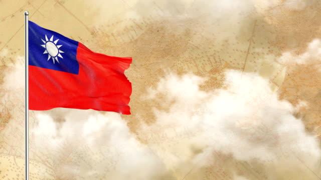 vídeos y material grabado en eventos de stock de 3d bandera de fondo histórico y fondo de cielo azul - bandera de taiwán