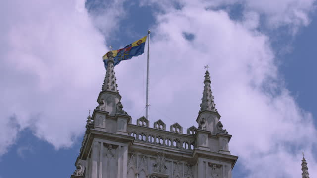 flag on palace of westminster / london, england - ornate stock videos & royalty-free footage