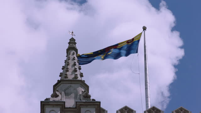 flag on palace of westminster / london, england - cumulus stock videos & royalty-free footage