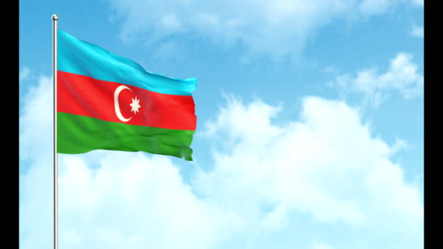 3d flag on sky and green screen background - azerbaigian video stock e b–roll