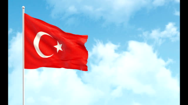 3d flag on sky and green screen background - turkish flag stock videos & royalty-free footage