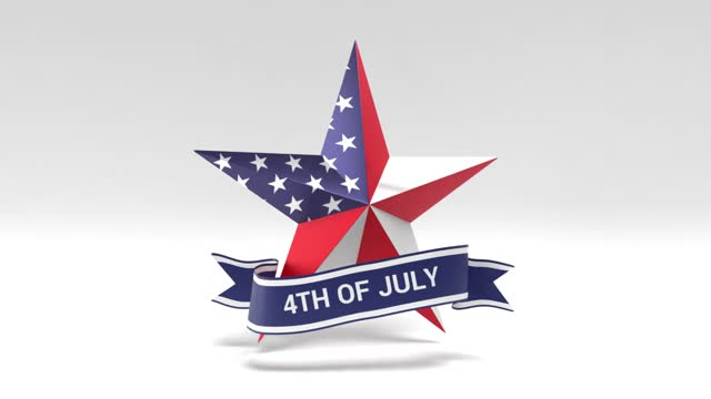 usa flag on star shape with 4th of july ribbon independence day greeting card on white background loop ready in 4k resolution - number 4 stock videos & royalty-free footage