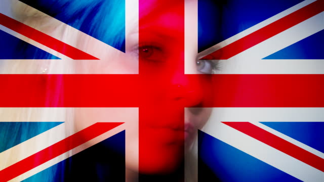 uk flag on woman face - british flag stock videos & royalty-free footage