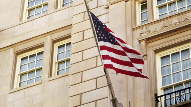 ms pan flag outside of hay adams hotel / washington, district of columbia, united states - hay stock videos and b-roll footage
