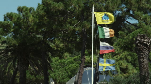 MS Flag pole with flags blowing in wind / Punta Ala, Italy