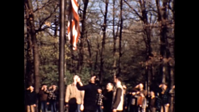 1947 flag raising in woods - saluting stock videos & royalty-free footage