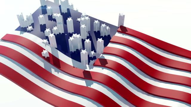 stockvideo's en b-roll-footage met usa vlag - politieke bijeenkomst