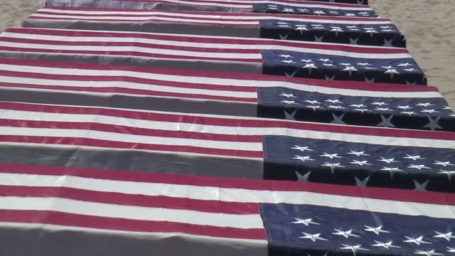 (HD1080) USA Flag: War Military Coffins on Display, Zoom Out