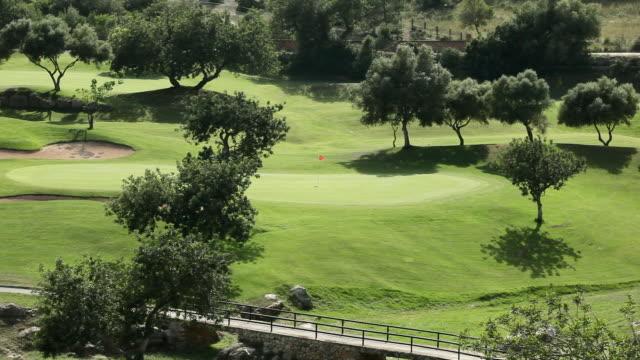 ws flag waving in breeze on golf course / palma de mallorca, mallorca, baleares, spain - golf flag stock videos and b-roll footage