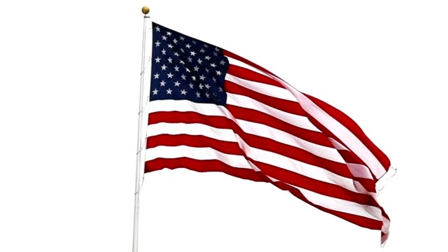 usa flag waving in breeze. - stars and stripes stock videos & royalty-free footage