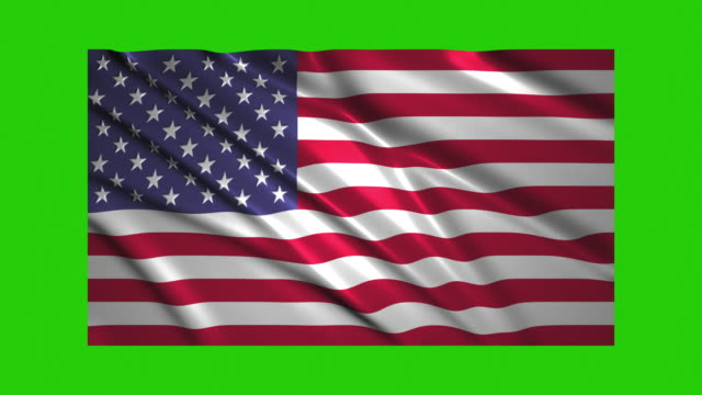 US flag waving,loopable on green screen