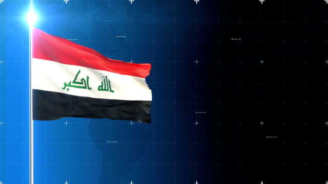 3d flag with map + green screen - iraqi flag stock videos and b-roll footage