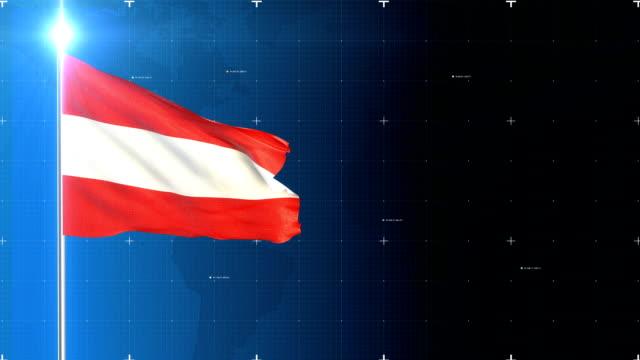 vidéos et rushes de flag 3d avec la carte + écran vert - austria