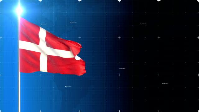 vídeos y material grabado en eventos de stock de bandera 3d con mapa + pantalla verde - danish flag