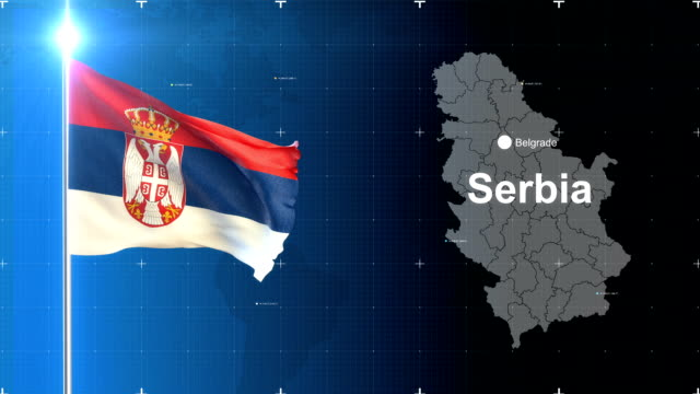 3d flag with map + green screen - serbia stock videos & royalty-free footage