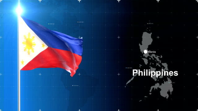 3d flag with map + green screen - philippines stock videos and b-roll footage