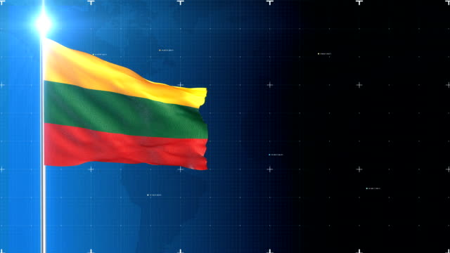 3d flag with map + green screen - lithuania stock videos & royalty-free footage