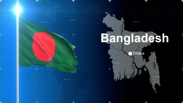 3d flag with map + green screen - flag of bangladesh stock videos & royalty-free footage