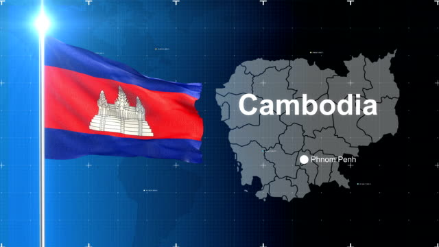 3d flag with map + green screen - cambodia stock videos & royalty-free footage