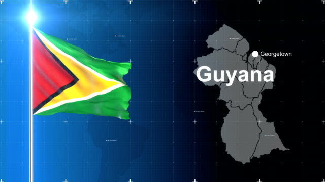 3d flag with map + green screen - guyana stock videos & royalty-free footage