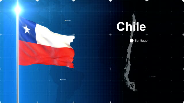 3d flag with map + green screen - chile stock videos and b-roll footage