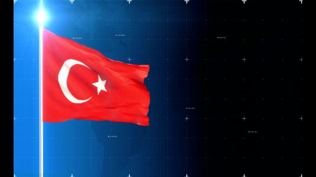 vídeos de stock, filmes e b-roll de 3d bandeira com mapa + fundo histórico - turquia