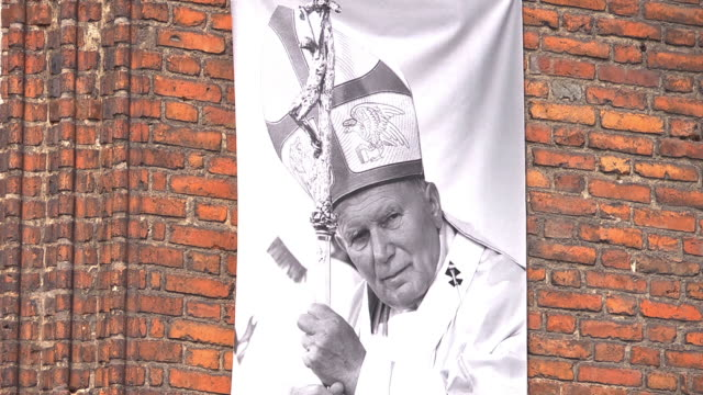 c/u flag with  pope john paul ii - pope stock videos and b-roll footage