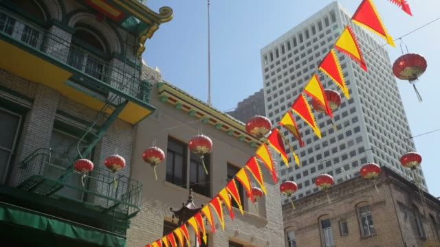 Flags and lanterns hanging above Chinatown, San Francisco
