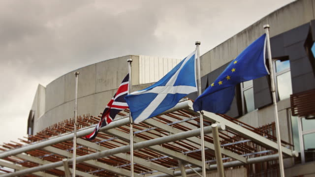 flags at scottish parliament building - scottish culture video stock e b–roll