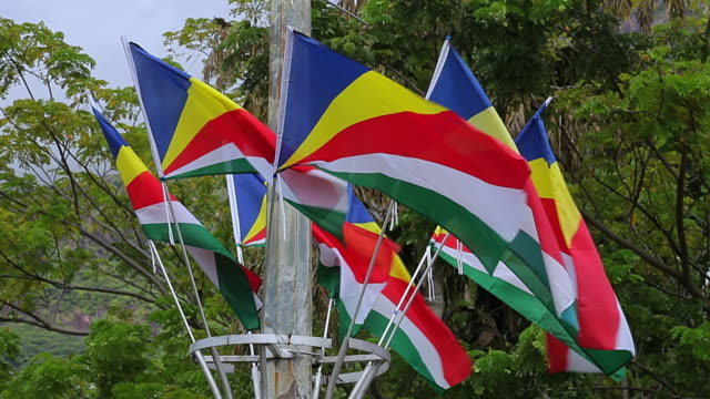 ms flags blowing in wind / mahe, seychelles - seychelles stock videos & royalty-free footage