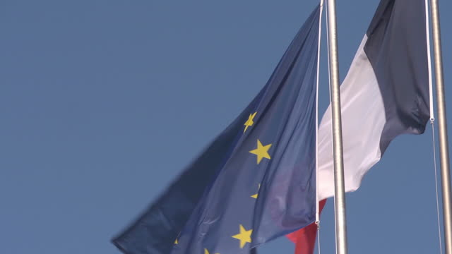 flags - eu and france - french flag stock videos & royalty-free footage