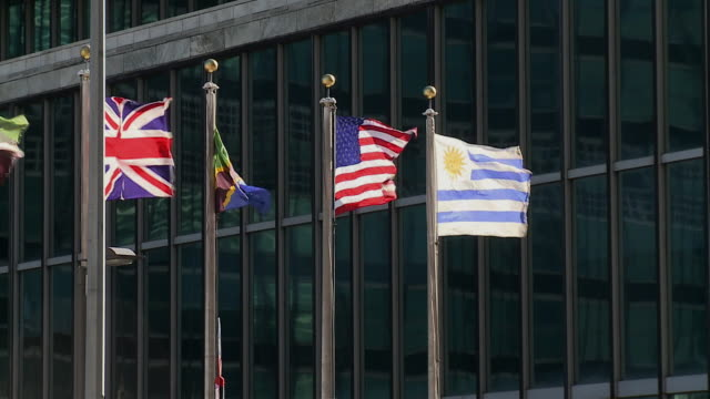 vídeos de stock, filmes e b-roll de ms flags flapping in wind in front of united nations building / new york city new york usa - bandeira uruguaia