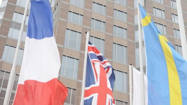 Flags fluttering - France, United Kingdom, Sweden