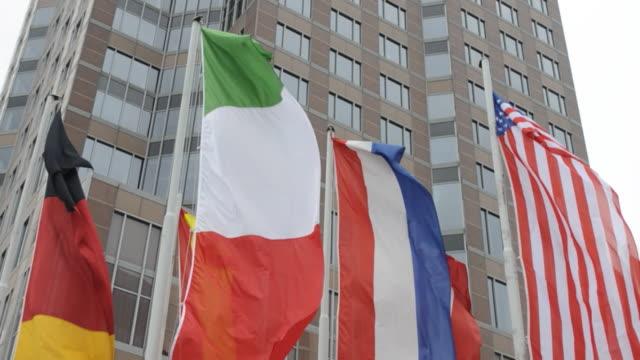 Flags flackernde-Deutschland, Italien, den Niederlanden, USA