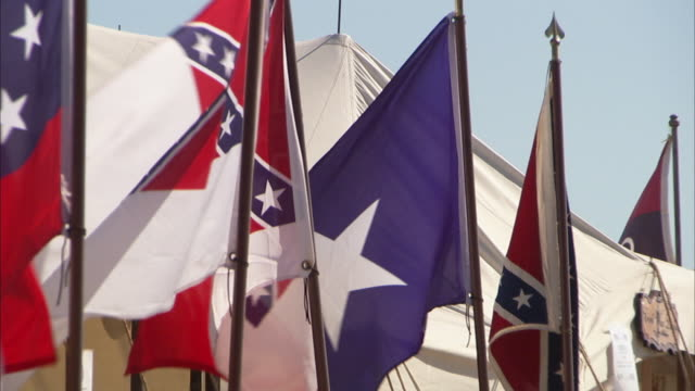 flags flying on pole army of northern virginia battle flag bonnie blue first confederate national flag united states flag pa - confederate states army stock-videos und b-roll-filmmaterial