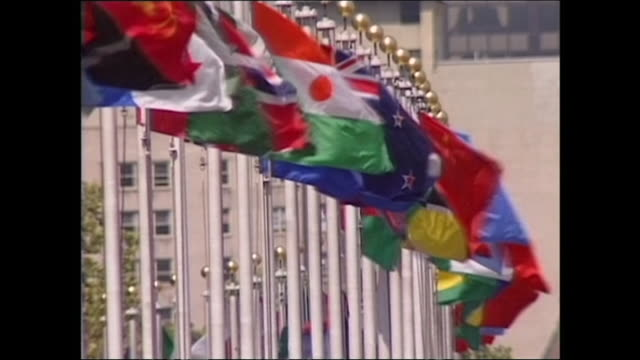 flags flying outside the united nations headquarters; 1992 - identity politics stock videos & royalty-free footage