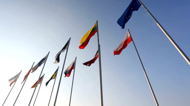 flags of baltic countries - baltic countries stock videos and b-roll footage