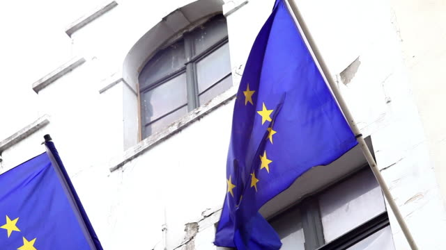 stockvideo's en b-roll-footage met flags of europe in front of decayed building facade in brussels - alle vlaggen van europa