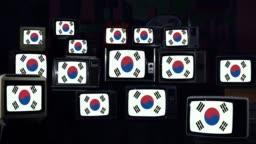 Flags of South Korea and Retro TVs.