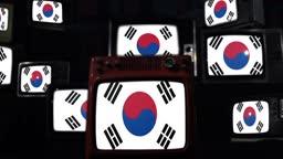 Flags of South Korea on a Retro TV Wall.