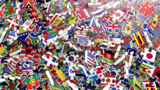 Flags of the World in Falling Puzzle Pieces (2 versions)