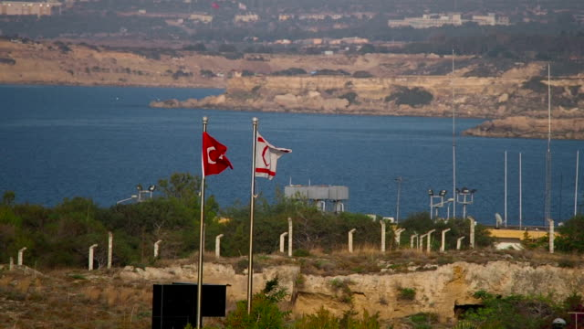 Flags of Turkey and Turkish Republic of Northern Cyprus, Famagusta, Cyprus